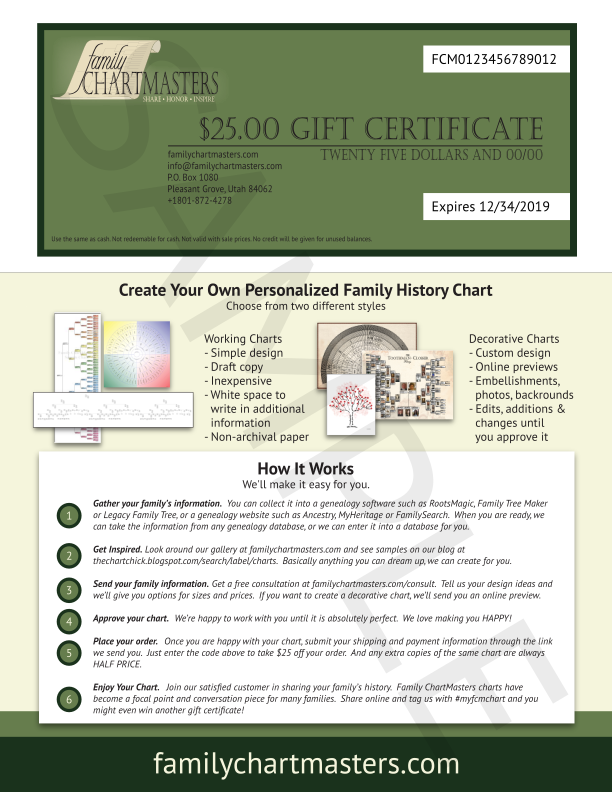 gift certificates family chartmasters